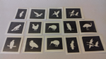 10 - 100 bird themed mini small stencils for glitter tattoos / airbrush / face painting  Ideal for Fund raising owl penguin swan eagle